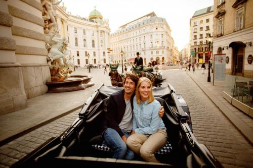 In a traditional horse-drawn carriage on Michaelerplatz